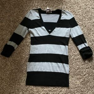 Black and Gray Striped Sweater S